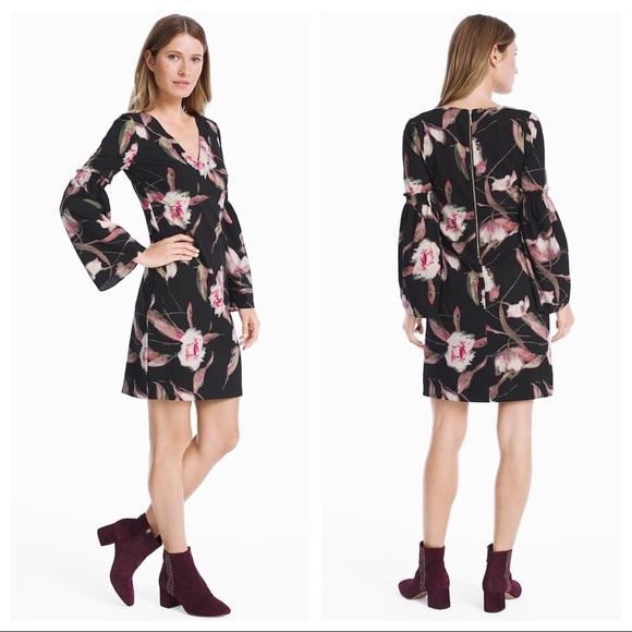 c24a36cb5151 White House Black Market Dresses | Whbm Long Bell Sleeve Floral ...